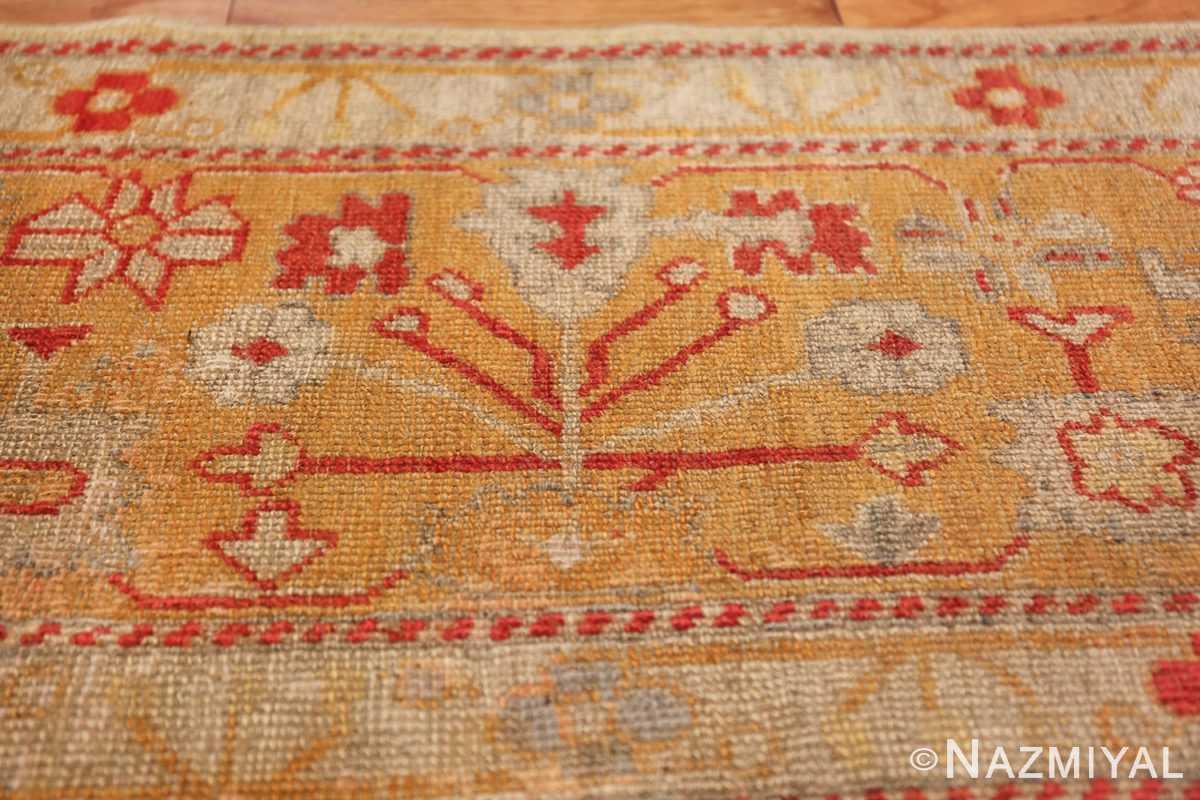 Tribal and Primitive Decorative Antique Turkish Oushak Rug 47260 Ivory Border Nazmiyal