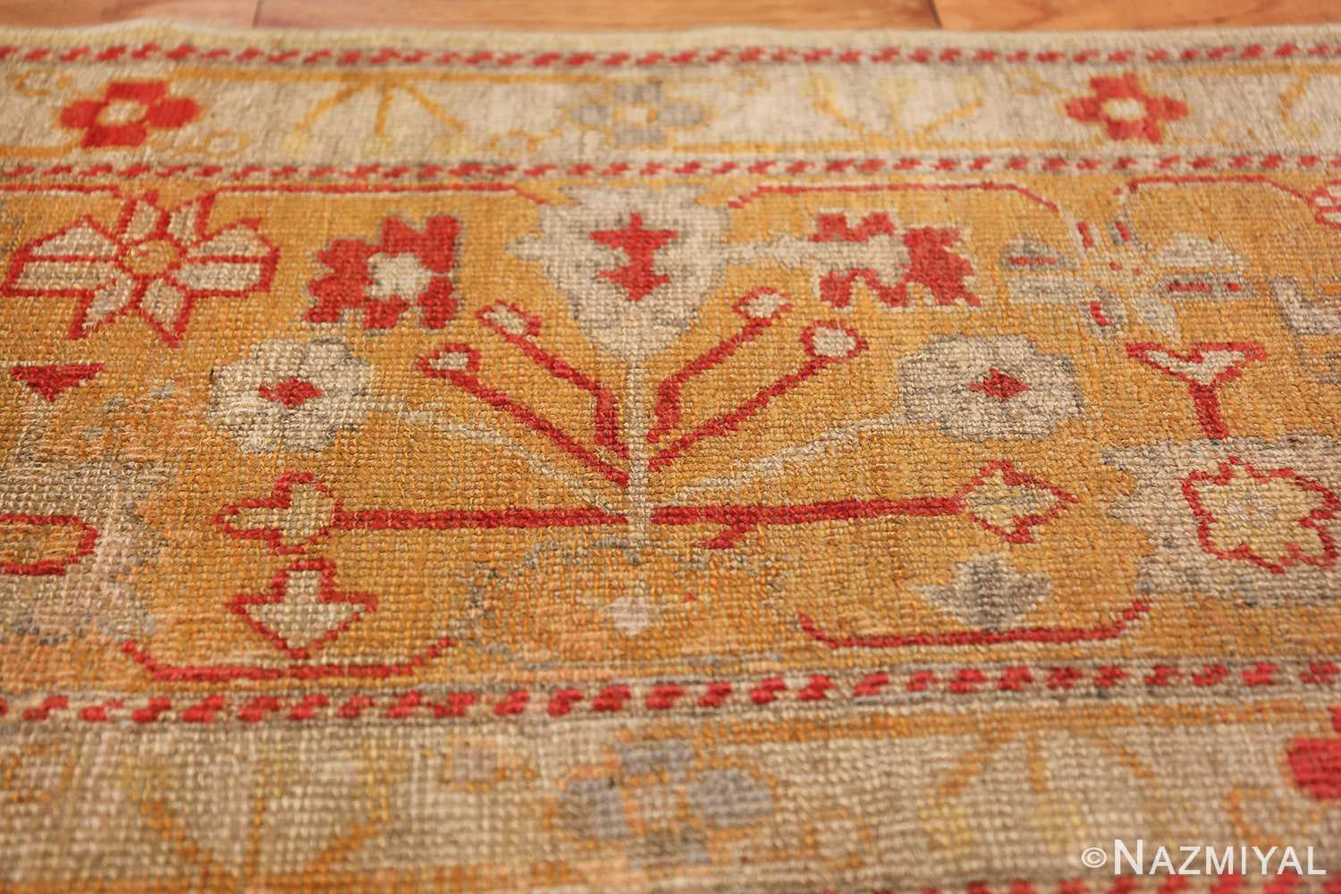 Tribal and Primitive Decorative Antique Turkish Oushak Rug 47260 Ivory Border Nazmiyal