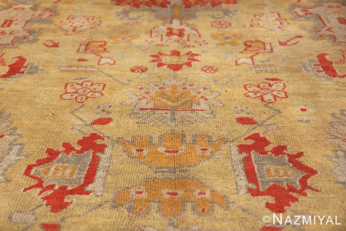 Tribal and Primitive Decorative Antique Turkish Oushak Rug 47260 Ivory Flowers Nazmiyal