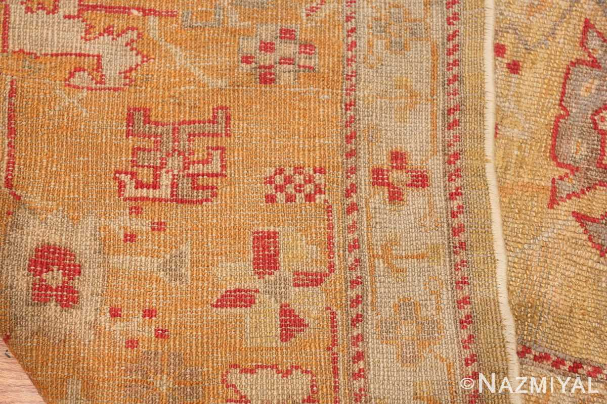 Tribal and Primitive Decorative Antique Turkish Oushak Rug 47260 Knots Woven Nazmiyal