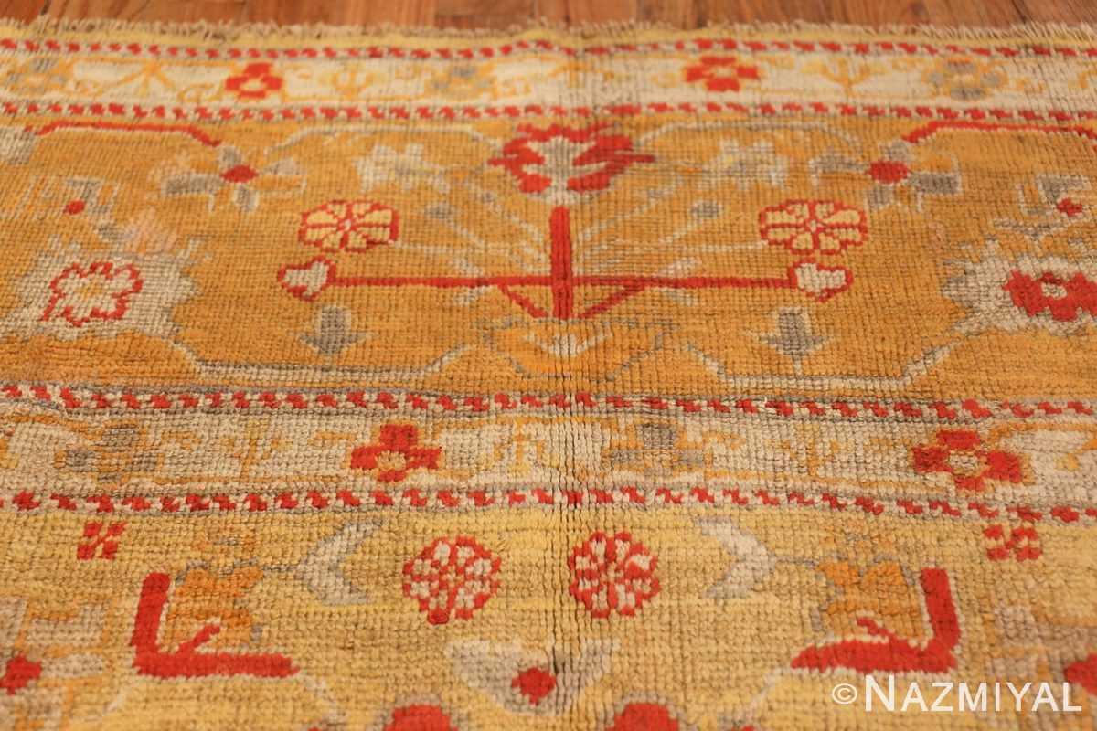 Tribal and Primitive Decorative Antique Turkish Oushak Rug 47260 Lower Design Nazmiyal