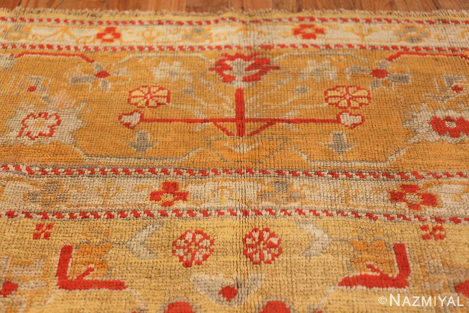 Tribal and Primitive Decorative Antique Turkish Oushak Rug 47260 Lower Design Nazmiyal