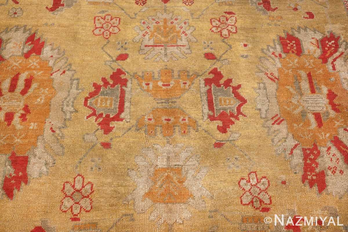 Tribal and Primitive Decorative Antique Turkish Oushak Rug 47260 Middle Top Down Nazmiyal