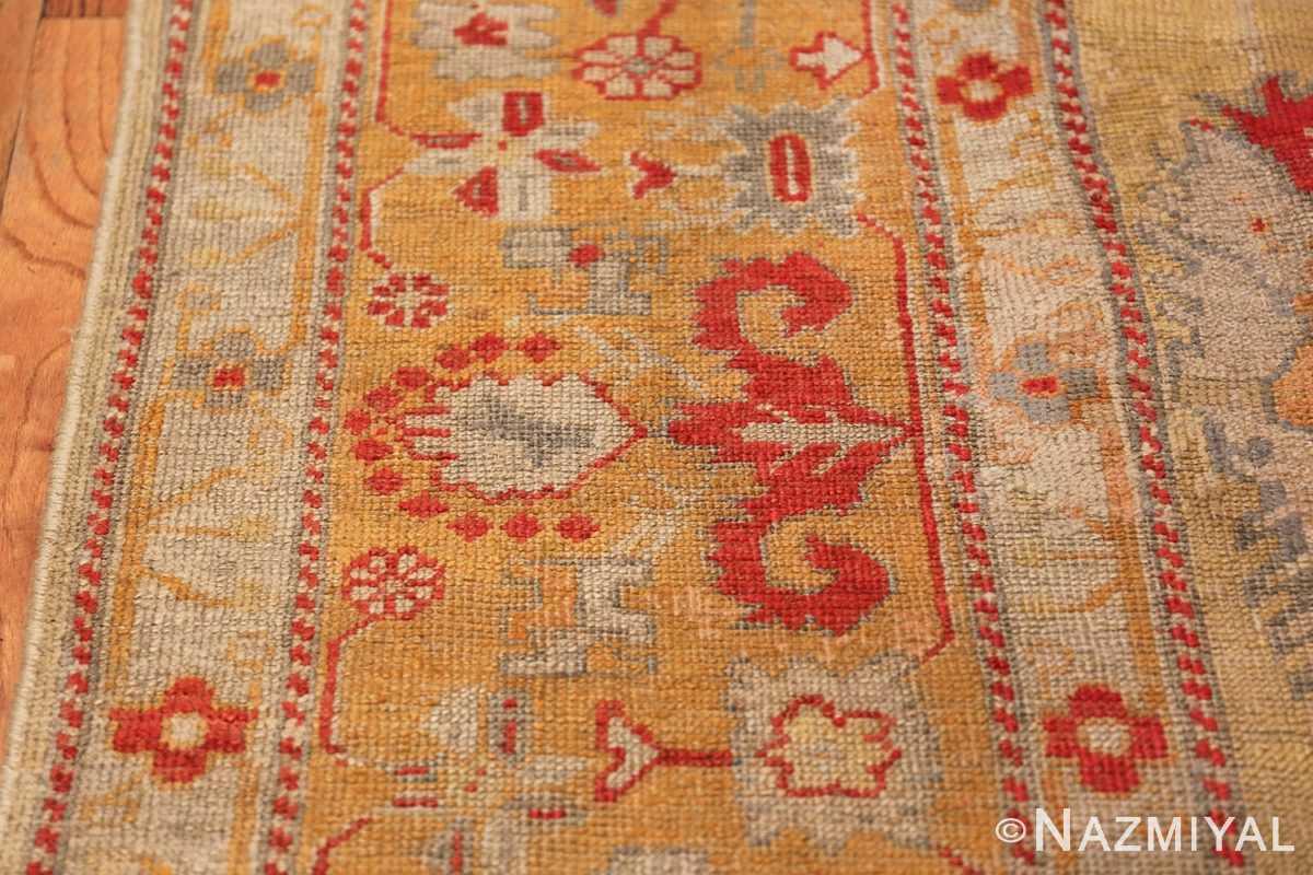 Tribal and Primitive Decorative Antique Turkish Oushak Rug 47260 Red Border Nazmiyal