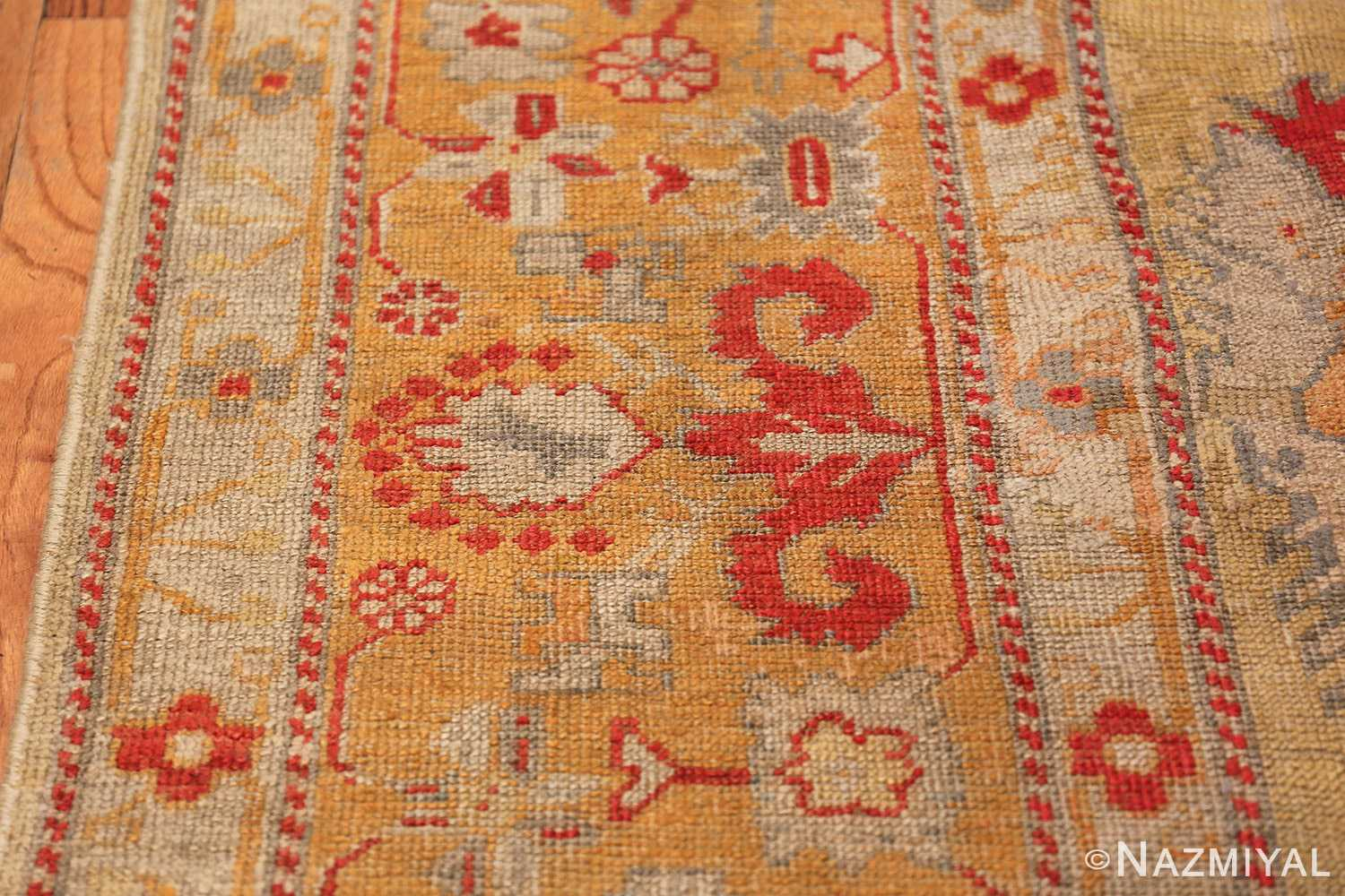 Tribal and Primitive Decorative Antique Turkish Oushak Rug 47260 Red Border Nazmiyal
