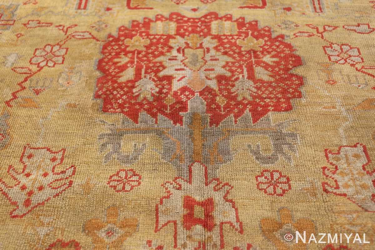 Tribal and Primitive Decorative Antique Turkish Oushak Rug 47260 Red Circle Nazmiyal