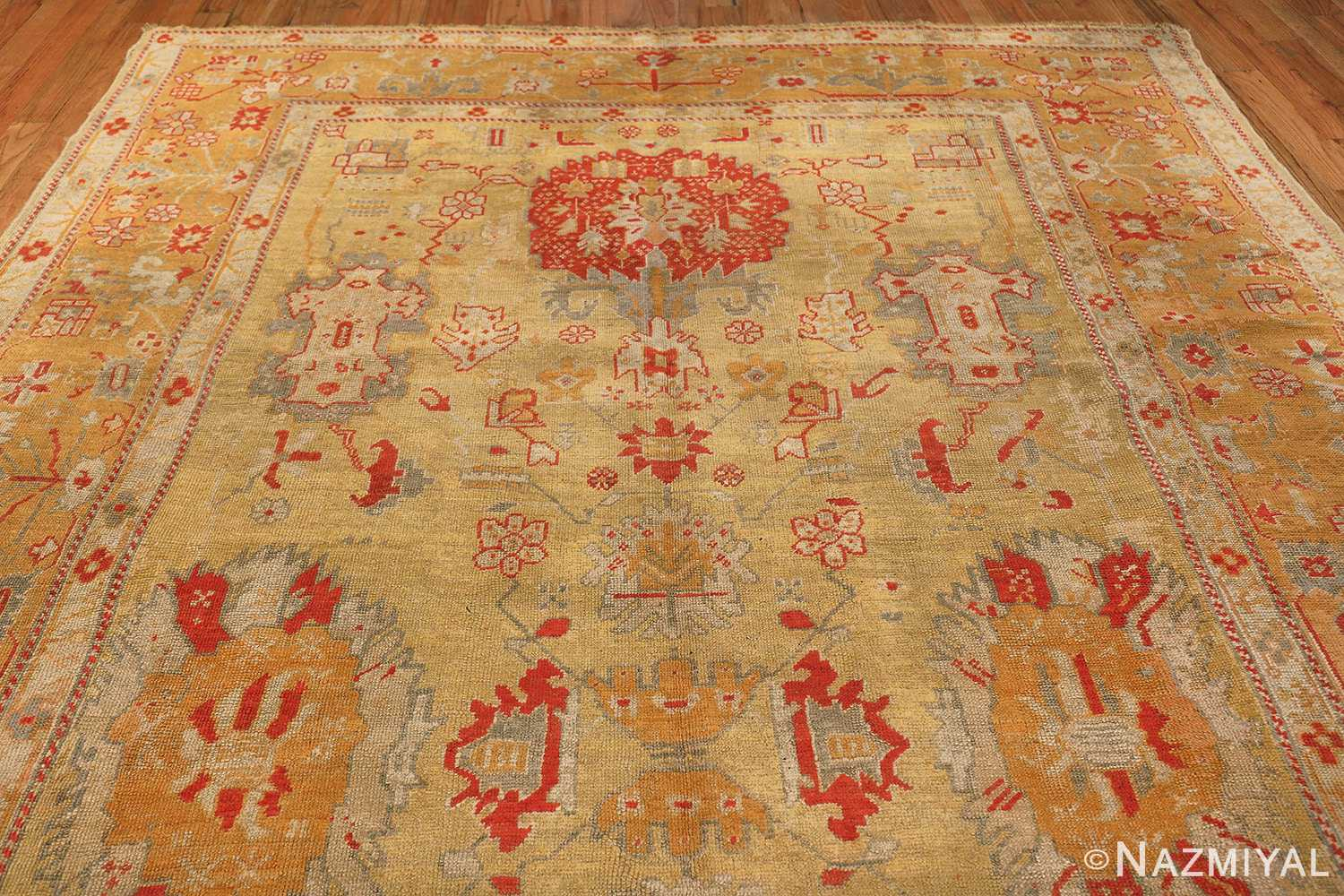 Tribal and Primitive Decorative Antique Turkish Oushak Rug 47260 Top Design Nazmiyal