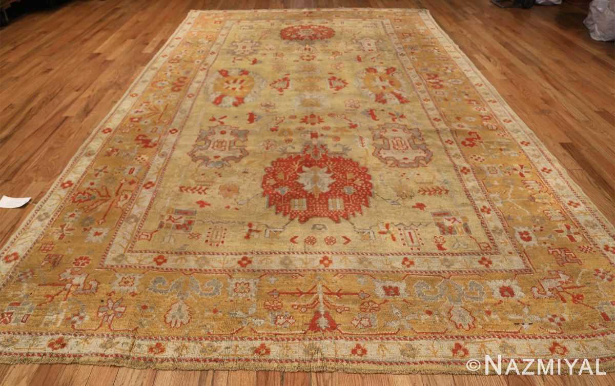 Tribal and Primitive Decorative Antique Turkish Oushak Rug 47260 Whole Design Nazmiyal