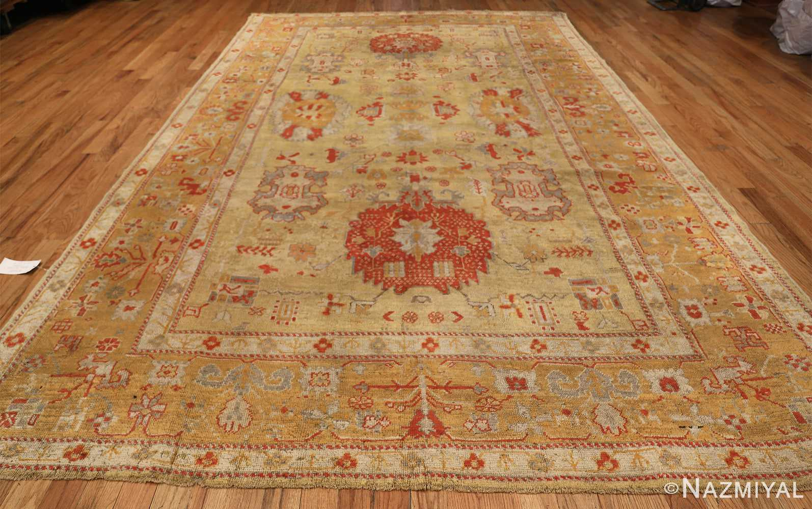 Tribal and Primitive Decorative Antique Turkish Oushak Rug 47260 Whole Design Nazmiyal
