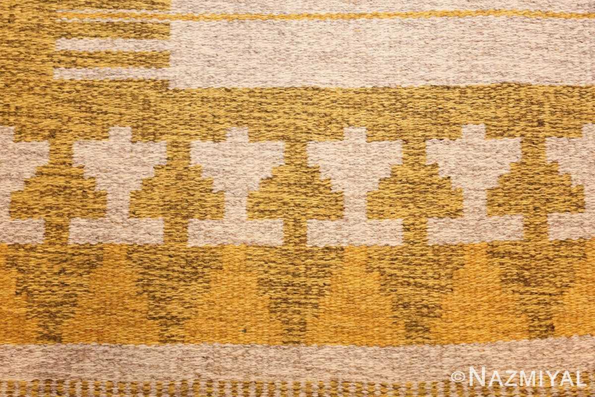 vintage double sided swedish kilim rug 48053 yellow background Nazmiyal