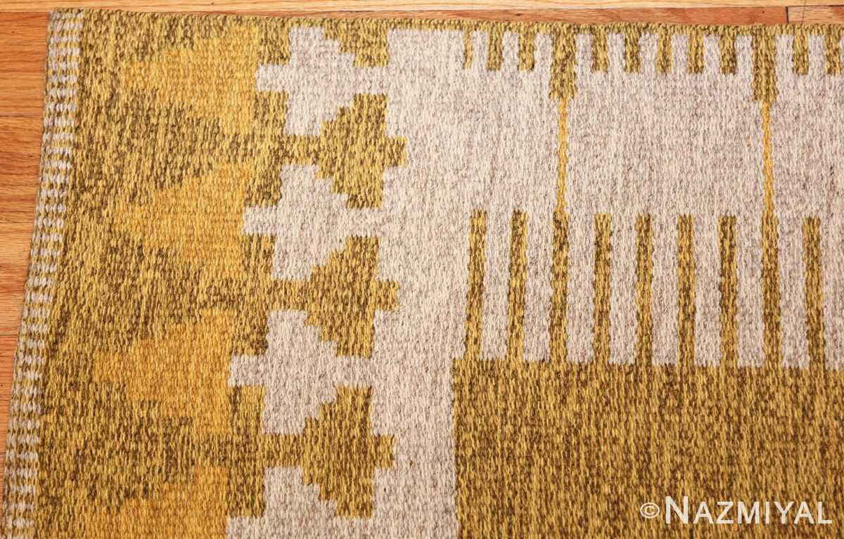 vintage double sided swedish kilim rug 48053 yellow corner Nazmiyal