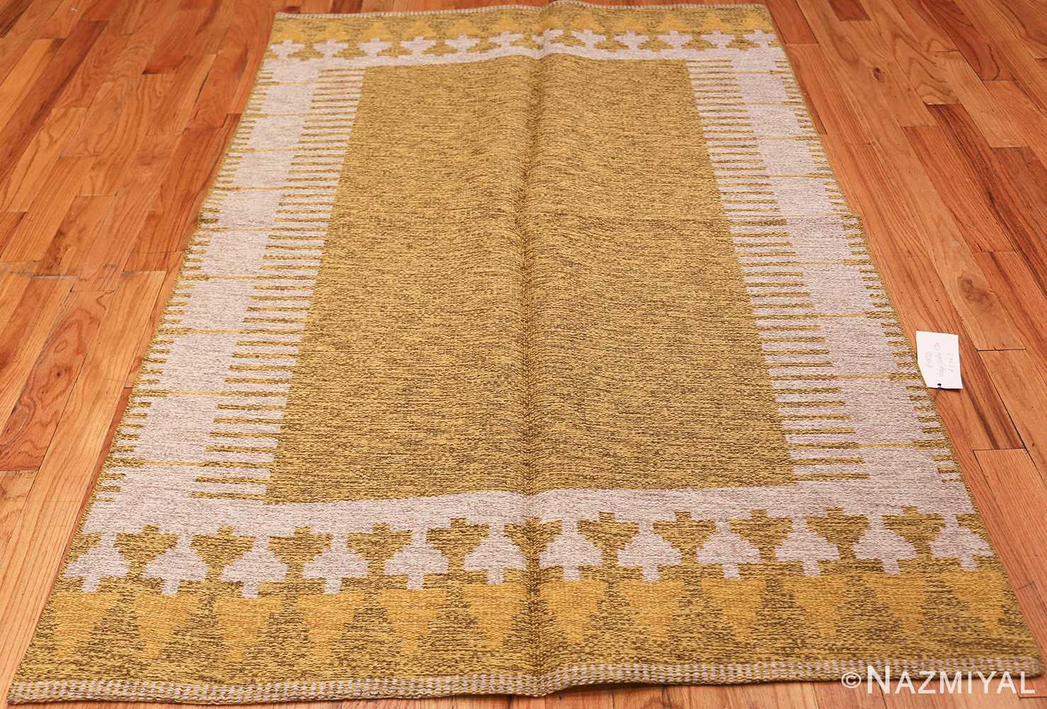 vintage double sided swedish kilim rug 48053 yellow Nazmiyal