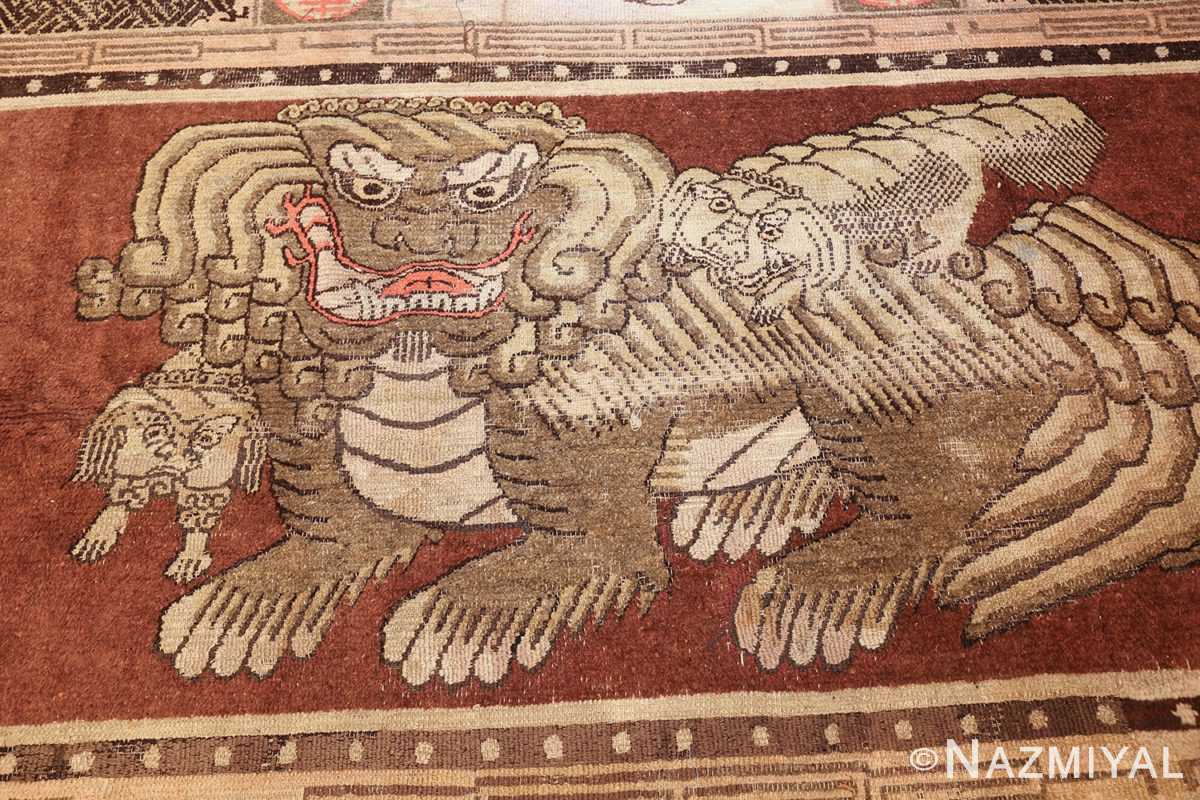 antique 17th century chinese fu dogs rug 48031 field Nazmiyal