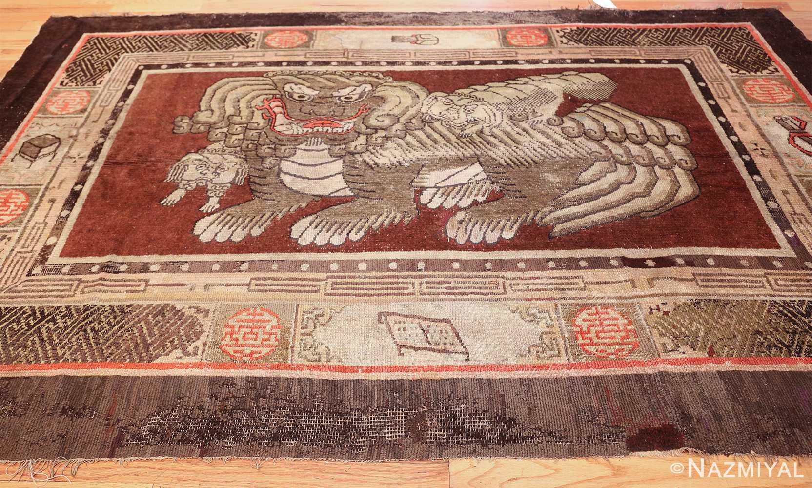 antique 17th century chinese fu dogs rug 48031 whole Nazmiyal