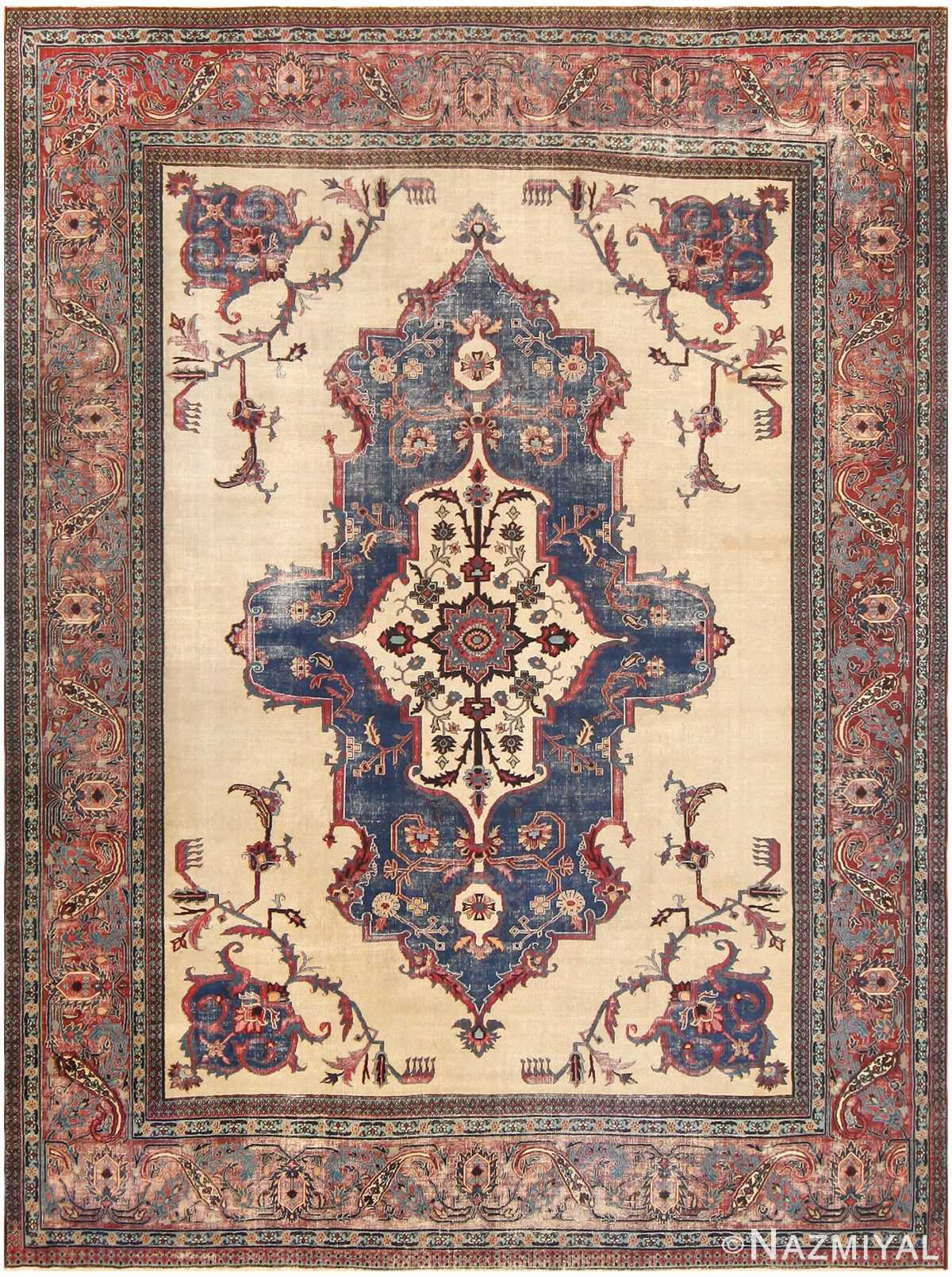 """Antique """"Shabby Chic"""" Persian Khorassan Rug 48035 Detail/Large View"""