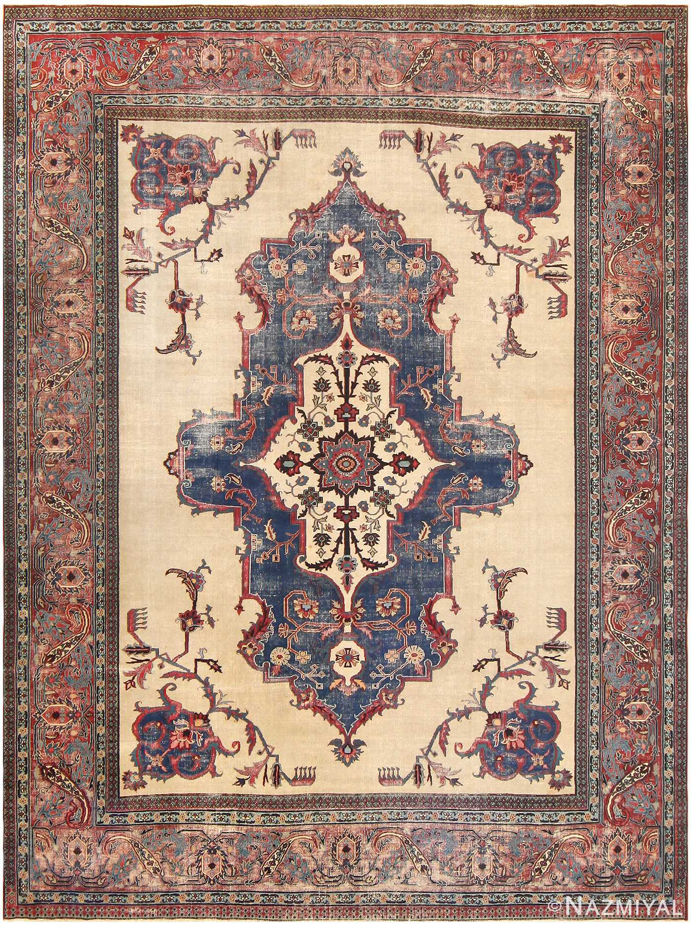 "Antique ""Shabby Chic"" Persian Khorassan Rug 48035 Detail/Large View"