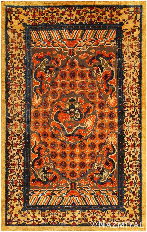 Antique Chinese Metallic Silk Rug 48130 Detail/Large View