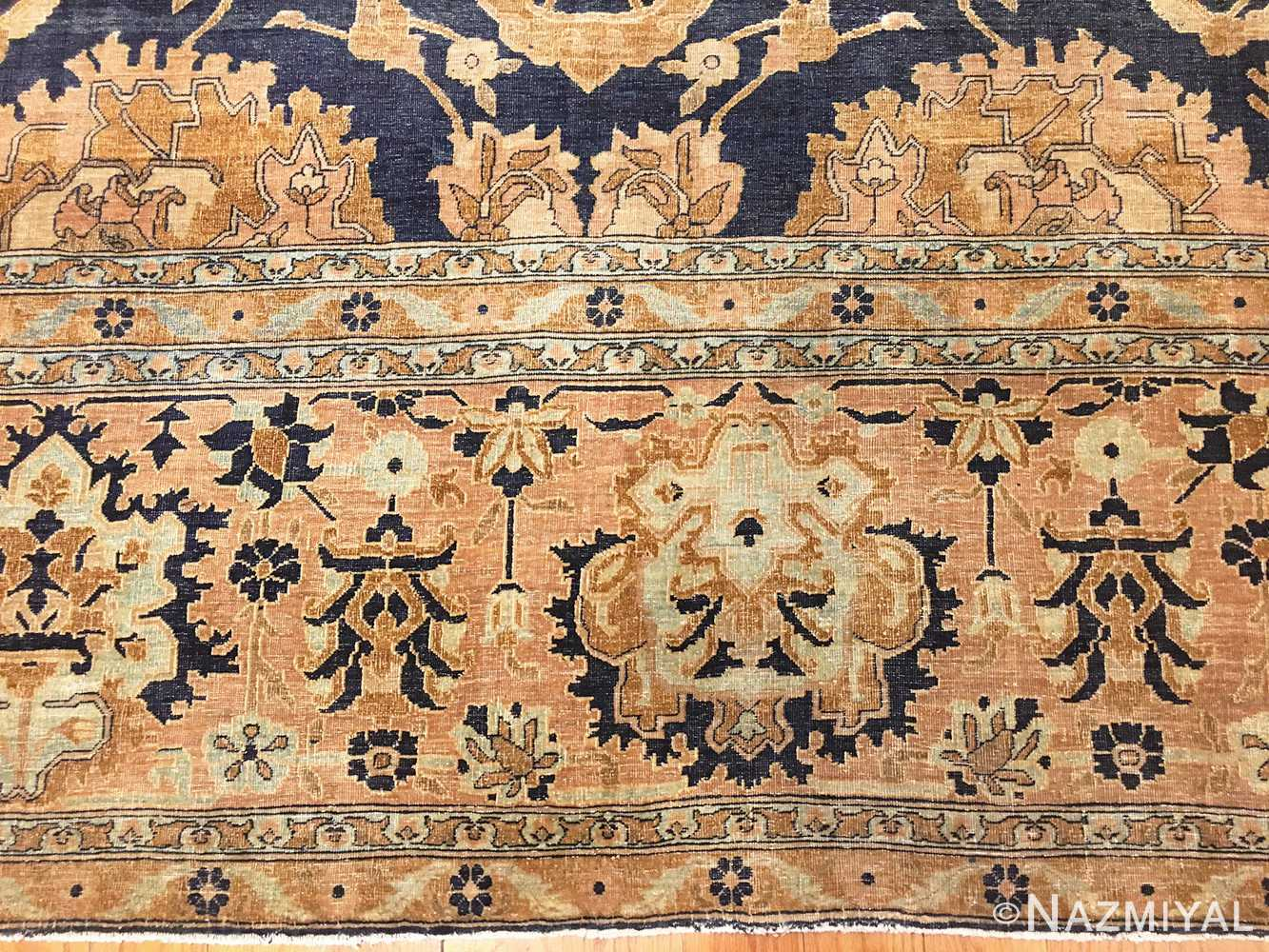 Border Antique Indian Agra Rug 46781 by Nazmiyal