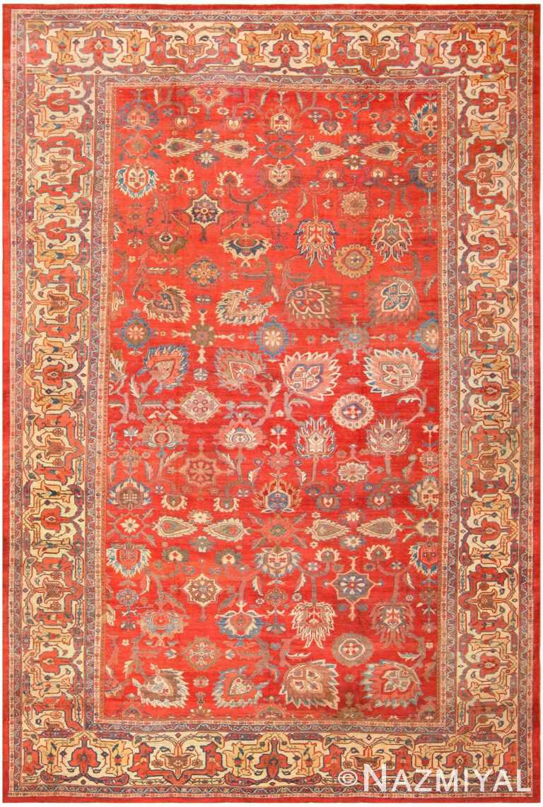 Large Oversized Red Antique Persian Sultanabad Rug 48094 by nazmiyal