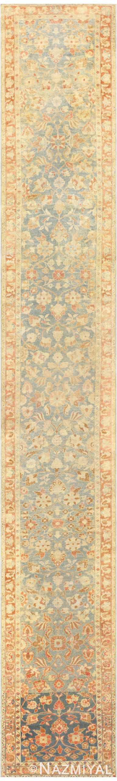 Light Blue Antique Persian Tabriz Runner Rug 47982 by nazmiyal