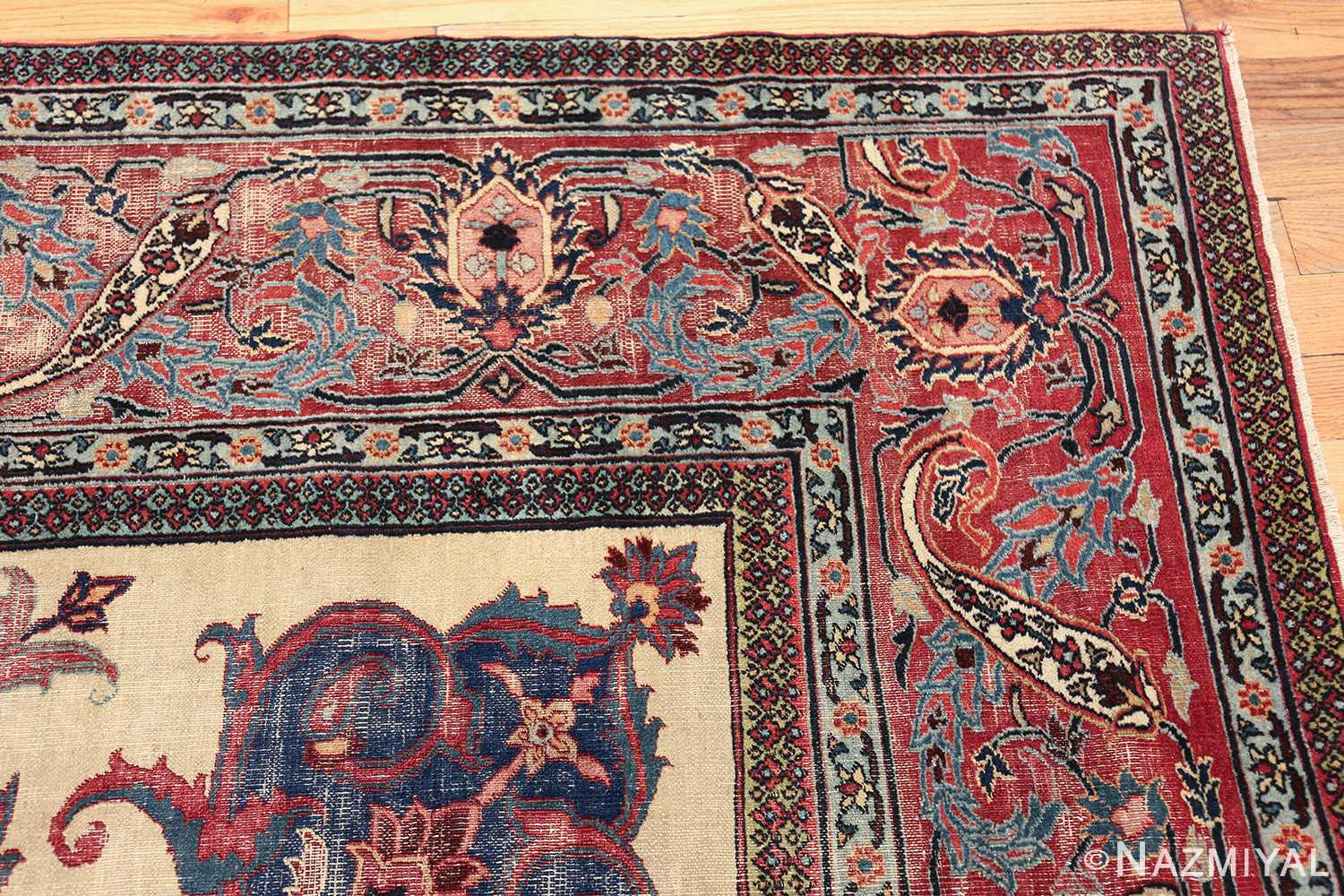 antique shabby chic persian khorassan rug 48035 corner Nazmiyal