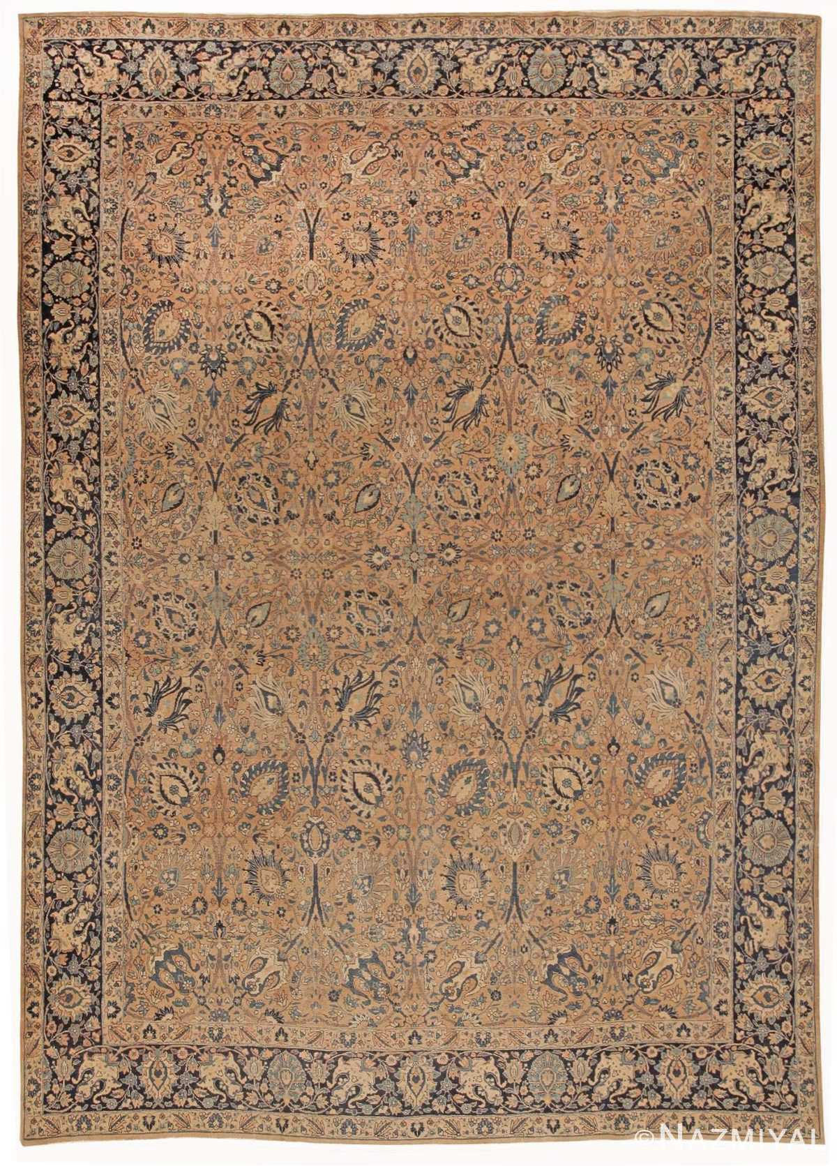 Room Size Antique Tabriz Persian Rug 42055 by nazmiyal