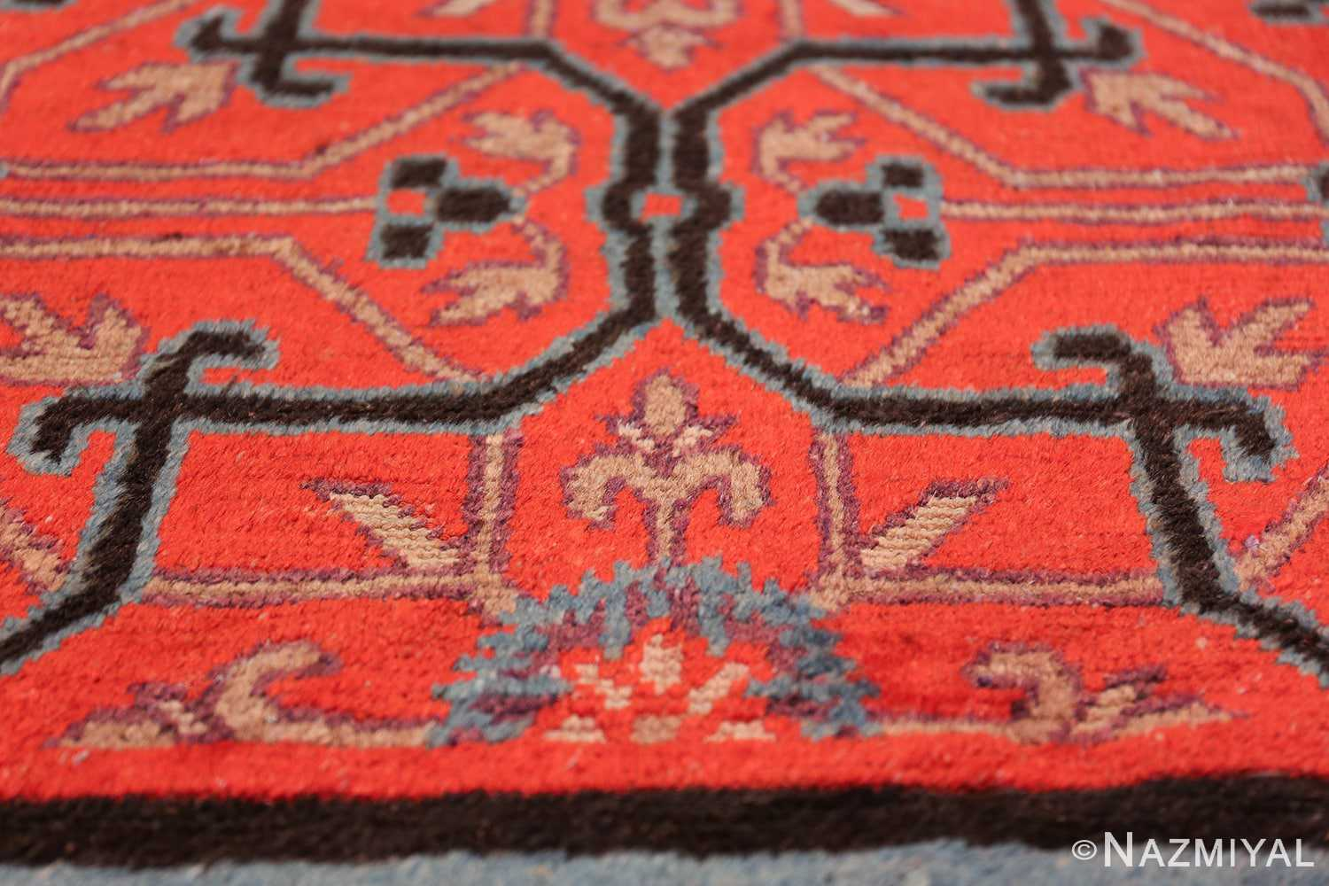 Early 18th Century Antique Chinese Geometric Rug 48032 Lower Blue Flower Nazmiyal