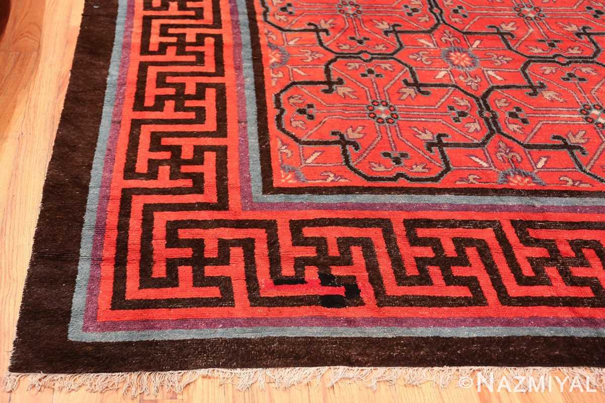 Early 18th Century Antique Chinese Geometric Rug 48032 Side Corner Nazmiyal