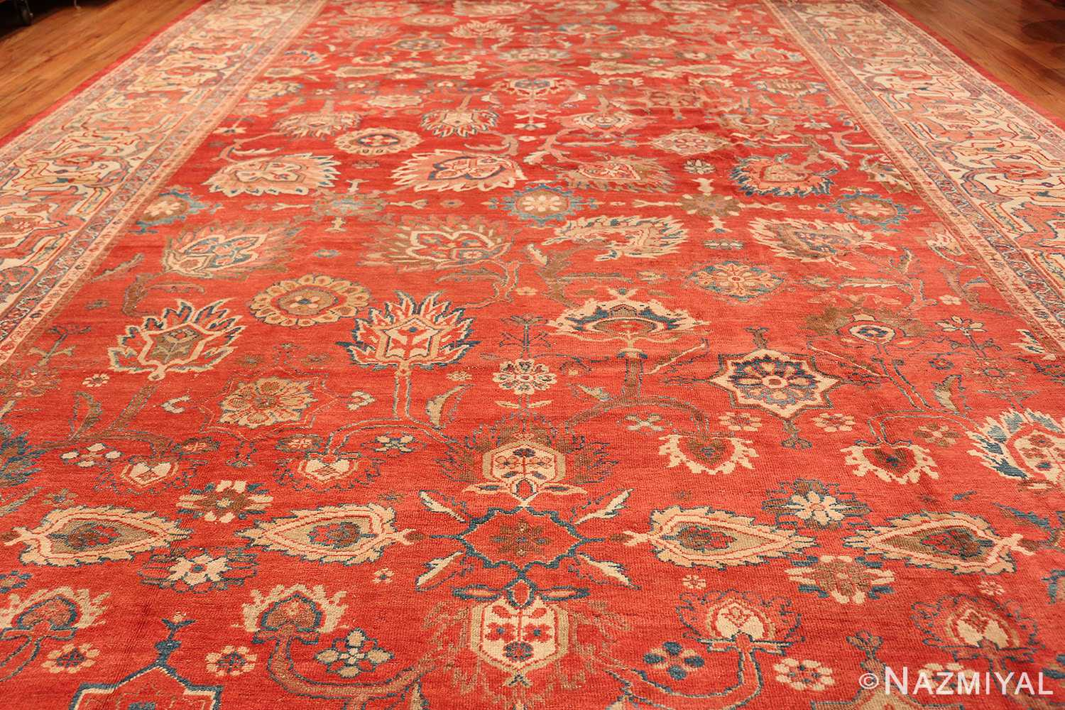 Large Oversized Red Antique Persian Sultanabad Rug 48094 Floral Field Nazmiyal