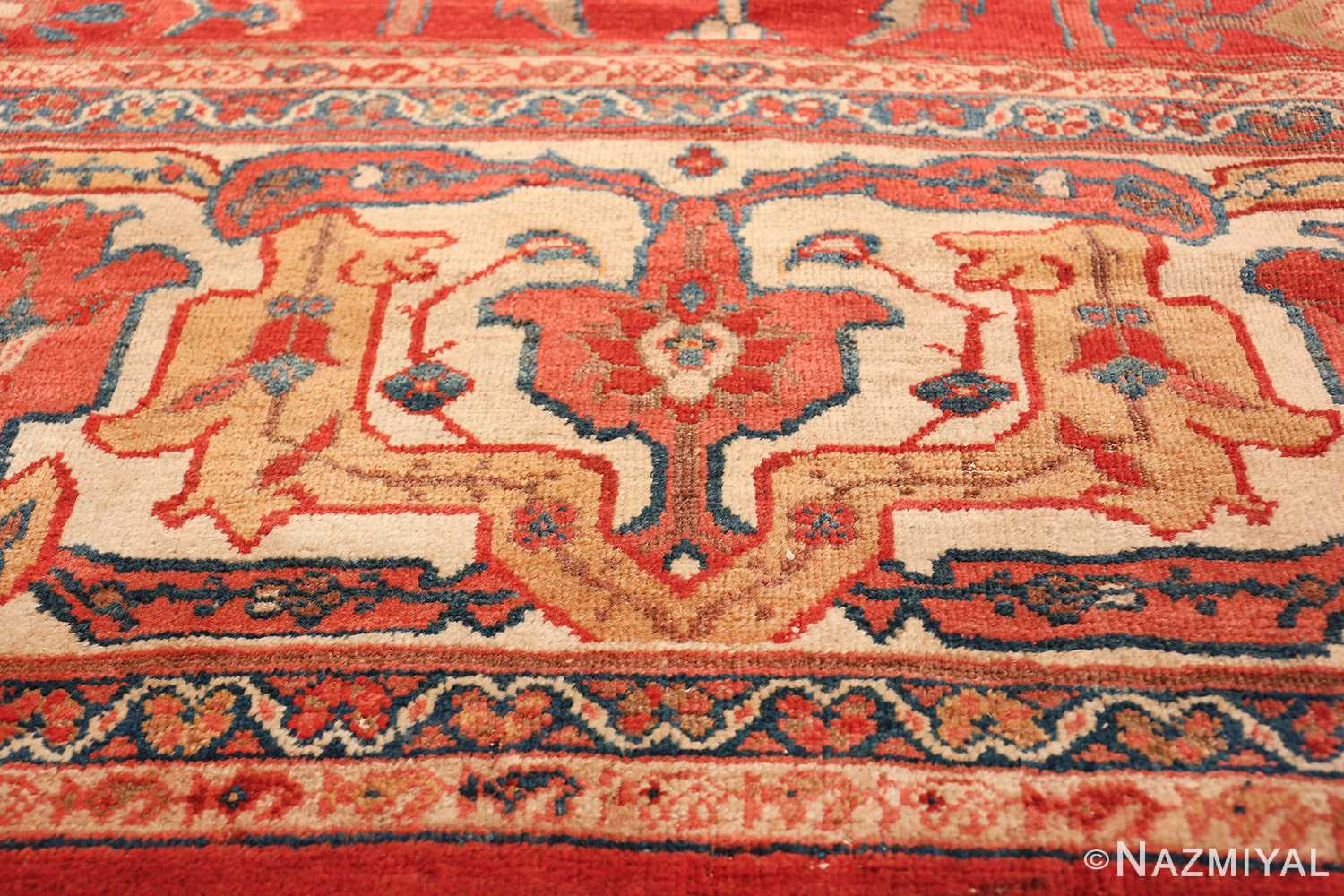 Large Oversized Red Antique Persian Sultanabad Rug 48094 Golden Border Part Nazmiyal