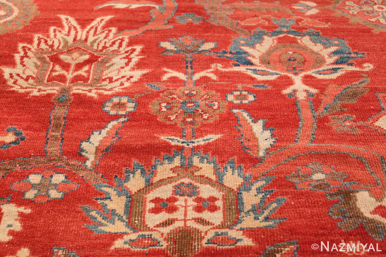 Large Oversized Red Antique Persian Sultanabad Rug 48094 Ivory Flower Nazmiyal