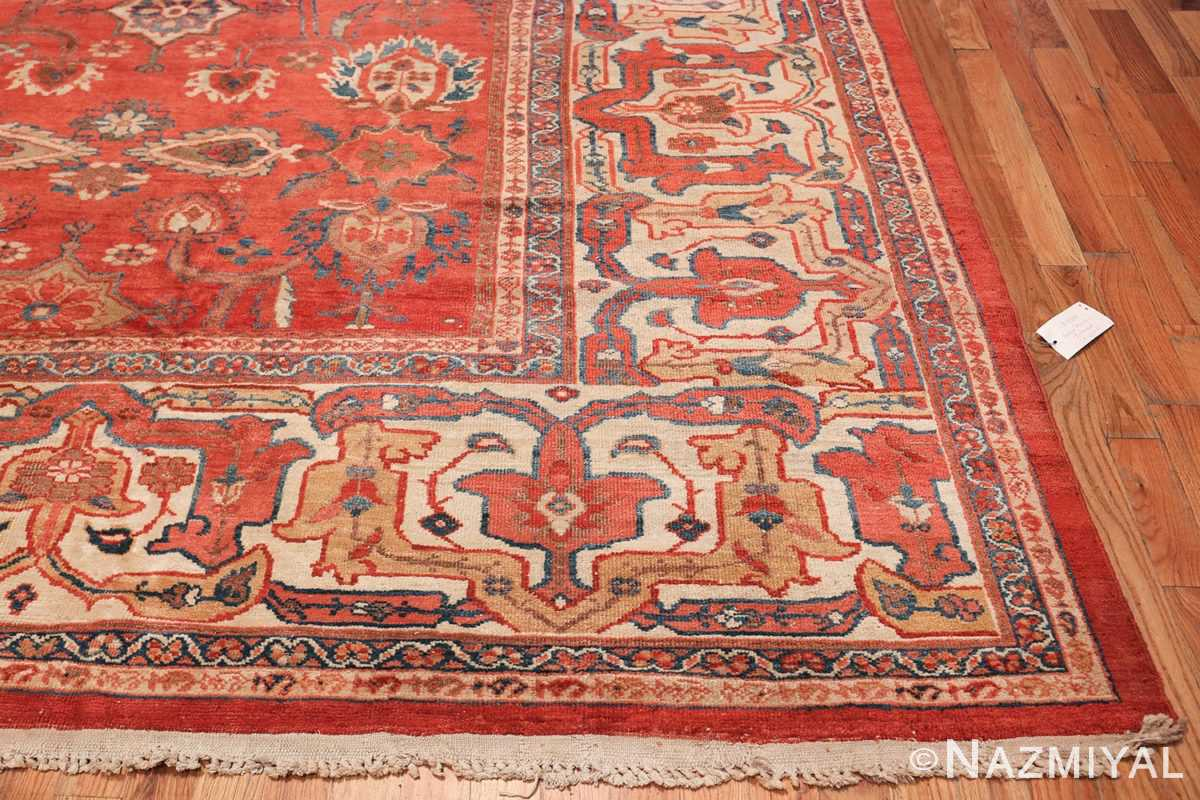 Large Oversized Red Antique Persian Sultanabad Rug 48094 Side Border Nazmiyal