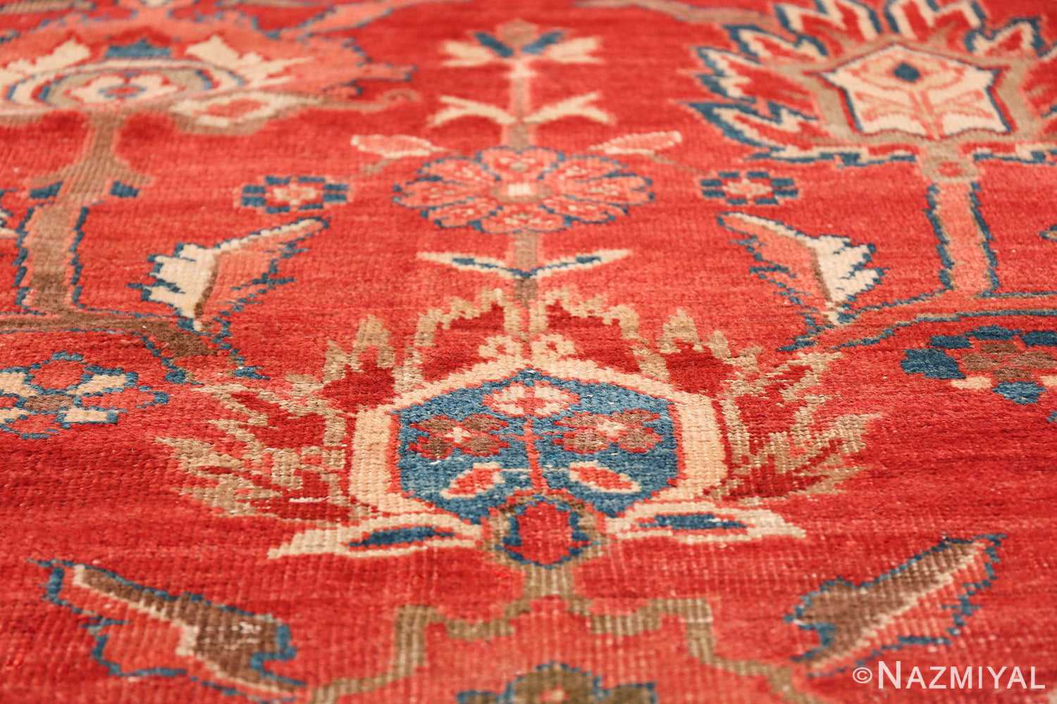 Large Oversized Red Antique Persian Sultanabad Rug 48094 Tiny Blue Flower Nazmiyal
