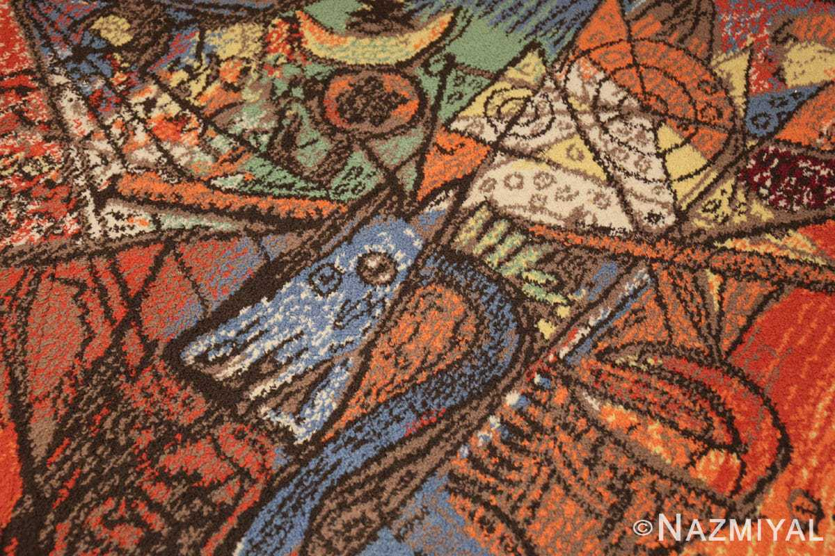vintage pablo picasso rug 48120 dragon Nazmiyal