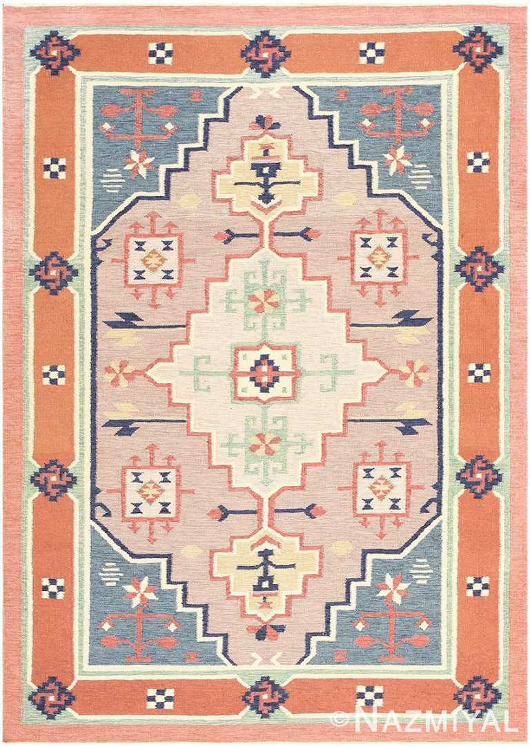 Flat Woven Vintage Scandinavian Swedish Kilim Rug #48116 by Nazmiyal Antique Rugs