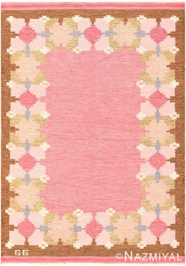 Vintage Pink Swedish Gitt Grannsjo Carlsson Kilim Rug #48047 by Nazmiyal Antique Rugs