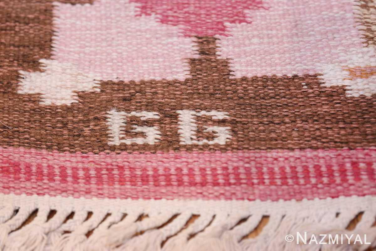 Vintage Swedish Kilim by Gitt Grannsjo Carlsson 48047 Signature Initials Nazmiyal