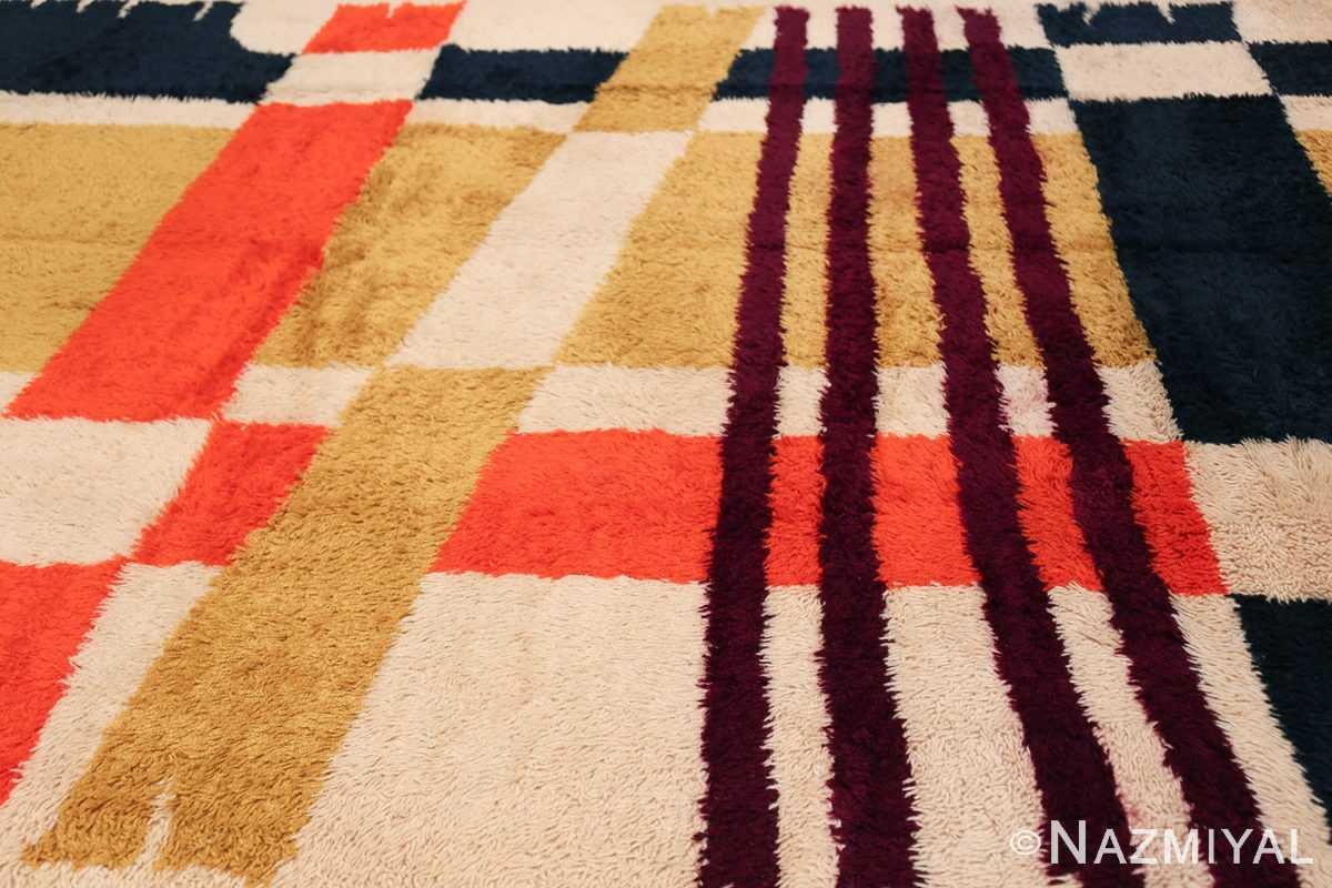 Vintage Swedish Rya Rug 48085 Slanted Lines Nazmiyal