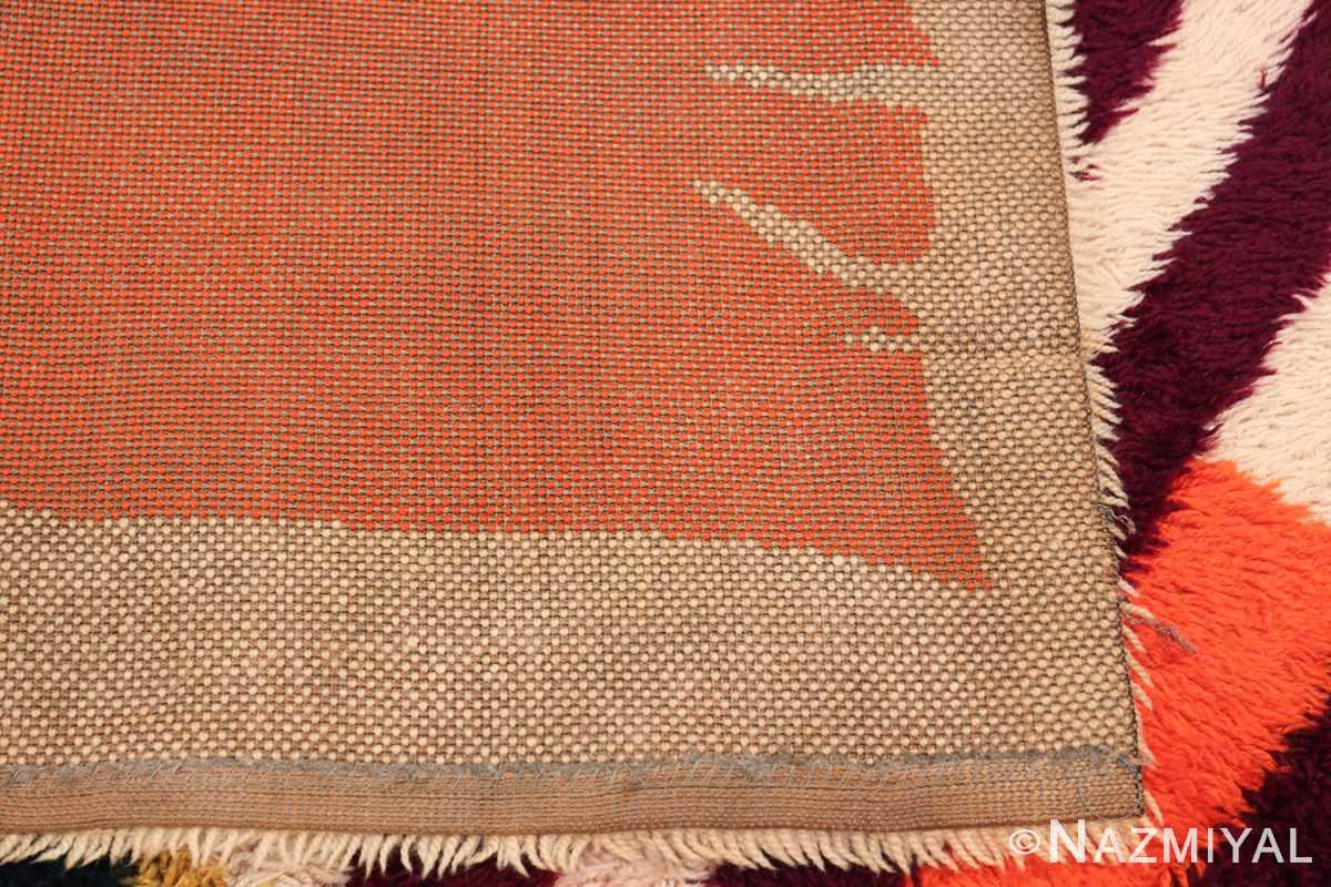 Vintage Swedish Rya Rug 48085 Woven Knots Nazmiyal