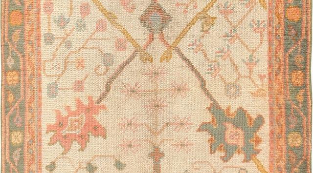 Ivory Background Decorative Antique Turkish Oushak Rug by Nazmiyal