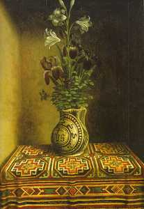 Early Rugs Depiction of a 'Memling Gul' rug in a still-life with a flower vase by Hans Memling, before 1494 (from V. Gantzhorn,Oriental Carpets, ill. 448).Early Rugs Depiction of a 'Memling Gul' rug in a still-life with a flower vase by Hans Memling, before 1494 (from V. Gantzhorn,Oriental Carpets, ill. 448).