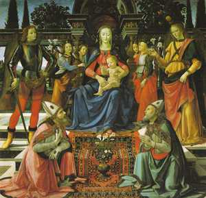 Early Rugs Depiction of the enthroned Madonna with a 'Ghirlandaio carpet' beneath her feet, Domenico Ghirlandaio, mid 15th century, Uffizi Gallery, Florence (from V. Gantzhorn, Oriental Carpets, ill. 482).