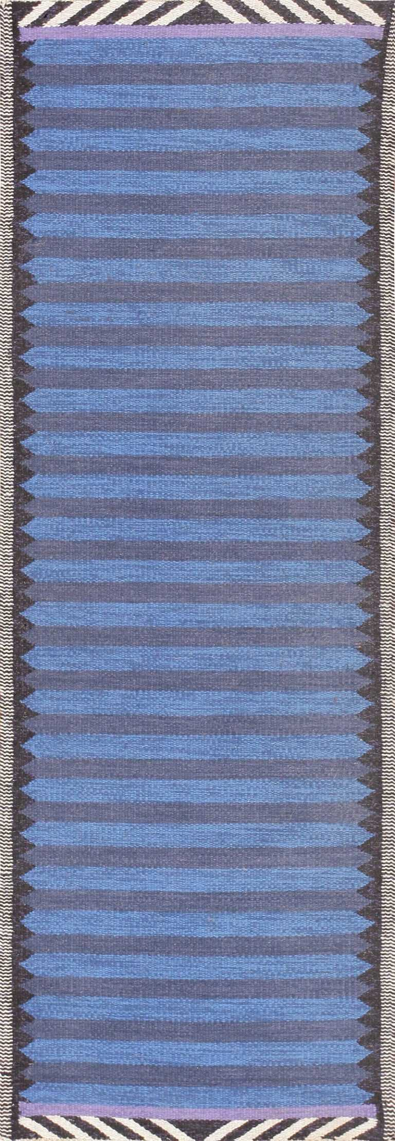 Beautiful Blue Vintage Scandinavian Swedish Runner 47693 Nazmiyal