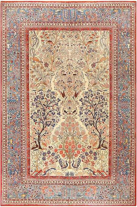 Antique Persian Kashan Dabir Carpet by Nazmiyal