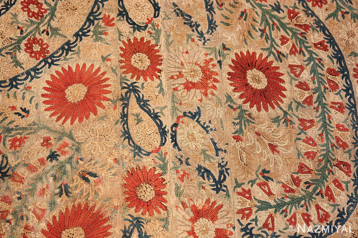 Antique 17th Century Ottoman Textile 41498 Closeup Texture Nazmiyal