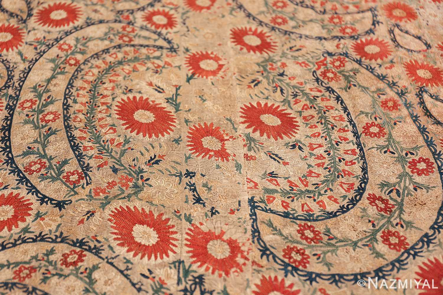 Antique 17th Century Ottoman Textile 41498 Floral Wreath Nazmiyal
