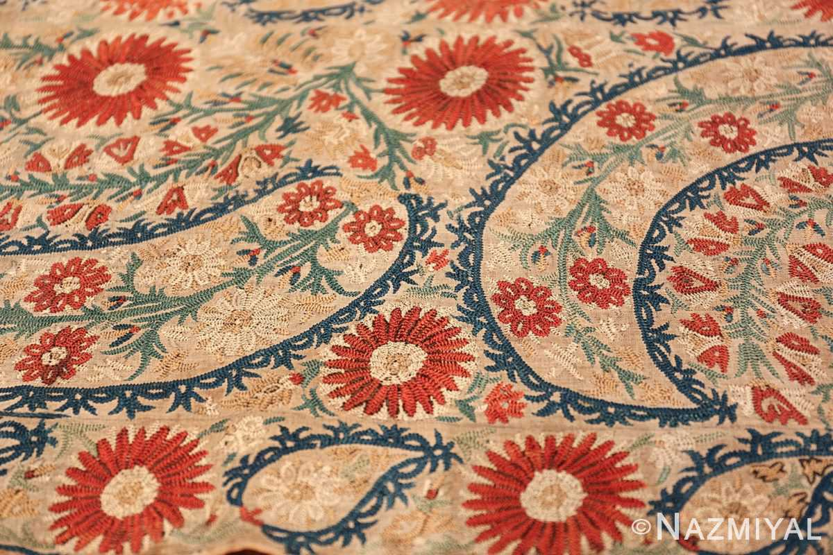 Antique 17th Century Ottoman Textile 41498 Red Ivory Tiny Flowers Nazmiyal