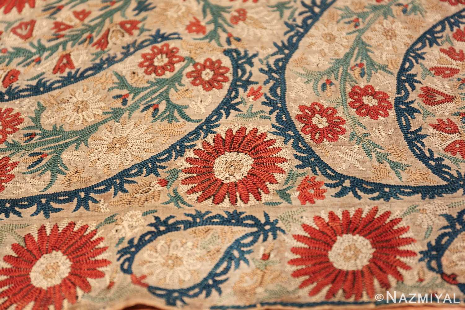 Antique 17th Century Ottoman Textile 41498 Three Big Roses Nazmiyal