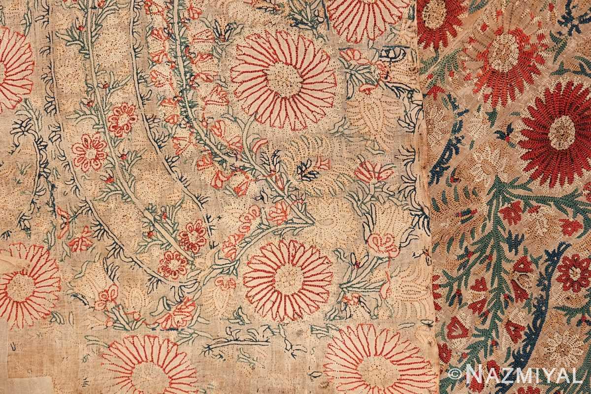 Antique 17th Century Ottoman Textile 41498 Woven Pattern Back Nazmiyal