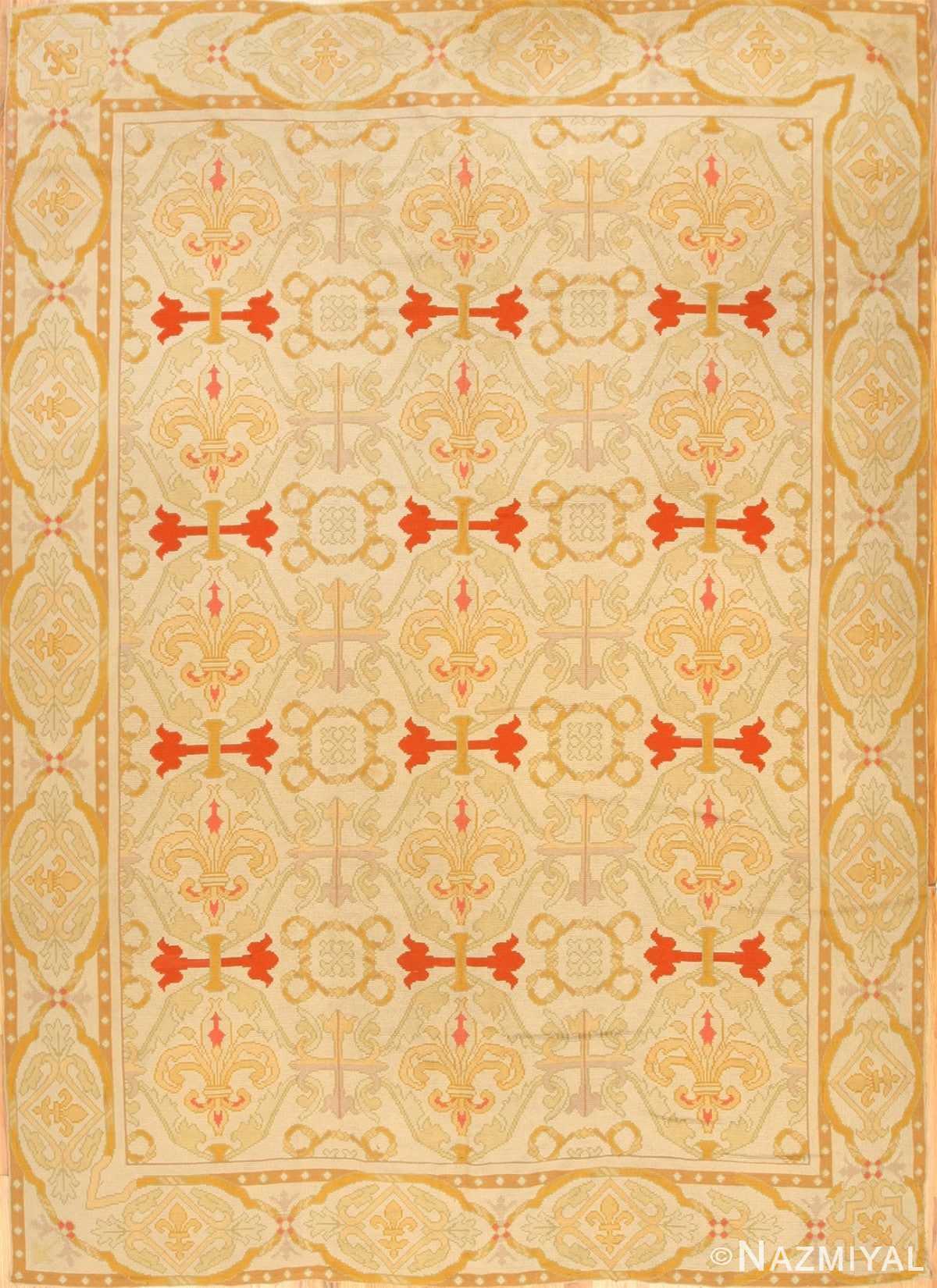 Fleur De Lis Design Antique Needlepoint English Rug 1112 Nazmiyal